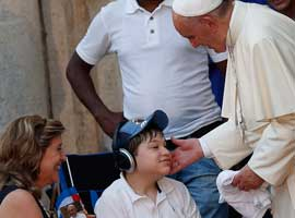 Pope Francis blesses a young man in Cuba. CNS Photo/Paul Haring