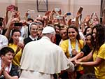 Pope Francis meeting with young people at the John Paul II Diocesan Youth Center in Sarajevo during his June 2015 visit to Bosnia-Herzegovina.  CNS Photo/Paul Haring