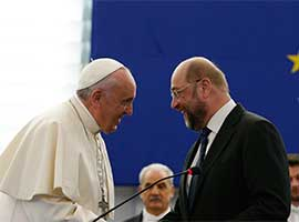 Pope Francis talks with Martin Schulz, president of the European Parliament, at the European Parliament in Strasbourg, France, in November 2014. CNS photo/Paul Haring