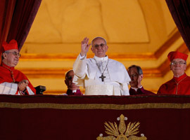 Pope Francis waves from balcony of St. Peters Basilica. CNS Photo/Paul Haring.