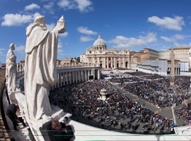The view from above St. Peters Square during the Inaugural Mass for Pope Francis.  CNS Photo Paul Haring.