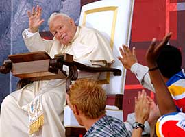 Pope John Paul II during his final international World Youth Day in Toronto in 2002.  CNS file photo