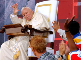 Pope John Paul II celebrated his final international World Youth Day in Toronto in 2002. (CNS file photo)