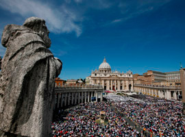 People pack St. Peter's Square at the Vatican for the beatification Mass of Pope John Paul II. (CNS photo/Paul Haring)