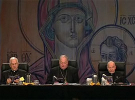 Archbishop Kurtz with Cardinal Dolan and Monsignor Jenkins at November 2011 USCCB meeting.