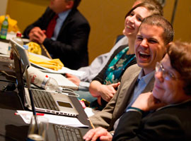Participants enjoy a light moment at social media gathering prior to November USCCB meeting.