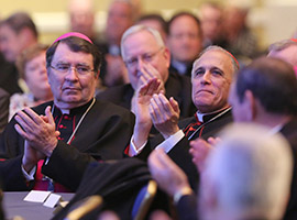 Archbishop Christophe Pierre and Cardinal Daniel N. DiNardo during a presentation on the centenary of the U.S. Conference of Catholic Bishops the day before the fall general assembly. (CNS photo/Bob Roller)