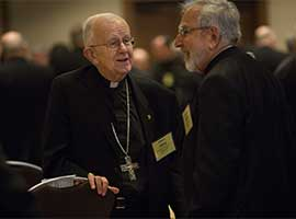 Retired Archbishop John G. Vlazny of Portland and Bishop Gerald F. Kicanas of Tucson. CNS photo/Lisa Johnston/St. Louis
