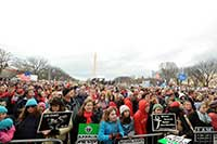 Participants in the 2015 March for Life in Washington, DC, listen to speakers at a rally. CNS Photo/Leslie E. Kossoff
