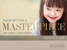 Respect Life Month is October 2014 - Girl smiling reminds each of us is a masterpiece of God's creation