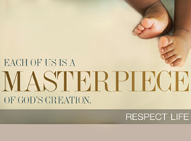 This image for the 2014 USCCB Respect Life program shows an infant's feet and illustrates the theme