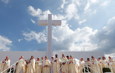 Bishops wait for the start of Pope Francis' celebration of the closing Mass of World Youth Day at Campus Misericordiae in Krakow, Poland, July 31. (CNS photo/Paul Haring)