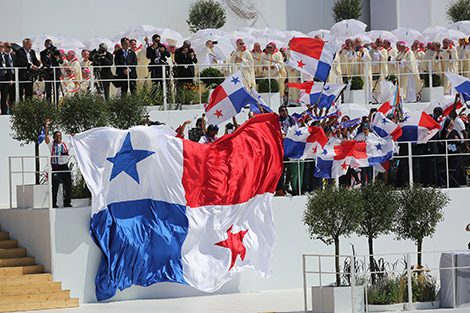 Panamanian flags are seen after Pope Francis celebrated the World Youth Day closing Mass July 31 at the Field of Mercy in Krakow, Poland. Pope Francis announced that Panama will host World Youth Day in 2019. (CNS photo/Bob Roller)