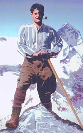 Blessed Pier Giorgio Frassati  ona mountain climb.  Photo: © Associazione Pier Giorgio Frassati, Rome. Used with permission.