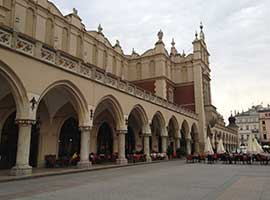 The Market Square is a popular gathering place in Krakow, Poland