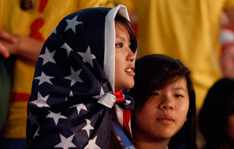 WYD 2011 - Young woman wrapped with U.S. flag