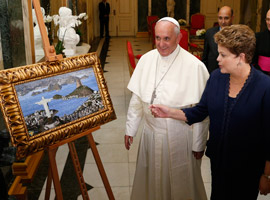 Pope Francis and Brazil's President Dilma Rousseff look at a painting of the Christ the Redeemer Statue during a welcome ceremony at the Guanabara Palace in Rio de Janeiro. (CNS photo/Paul Haring)