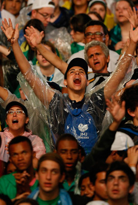 Pilgrims cheer during the opening ceremony of World Youth Day in Rio de Janeiro. (CNS photo/Paul Haring)