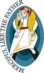 The official Vatican logo for the Jubilee of Mercy features Jesus as the Good Shepherd carrying a man on his back as he would a lost sheep.