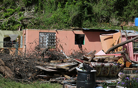 Debris outside a home in Guajataca, Puerto Rico, that was destroyed by Hurricane Maria. (CNS photo/Bob Roller)