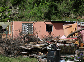 A destroyed home outside in Puerto Rico (CNS photo/Bob Roller)