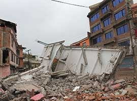 Remains of Pentecostal Church are seen April 28 in a suburb outside Kathmandu, Nepal following a magnitude-7.8 earthquake April 25. CNS photo/Anto Akkara