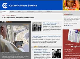 The new look for Catholic News Service's website is captured in a screenshot.