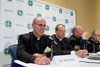 Bishops speak to the media at a new conference during their November2011 General Assembly. CNS Photo/Nancy Phelan Weichec