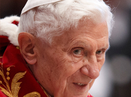 Pope Benedict XVI at a Mass for the Knights of Malta in 2013. CNS Photo/Paul Haring.