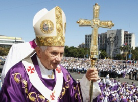 Pope Benedict XVI celebrated Mass in Revolution Square in Havana Cuba in 2012. CNS Photo/Paul Haring.