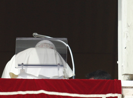 Pope Benedict XVI departs after leading his final Angelus as pope on February 24.  CNS Photo/Paul Haring