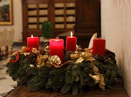 An Advent wreath is pictured in the Apostolic Palace at the Vatican Dec. 15, 2014. CNS photo/Paul Haring