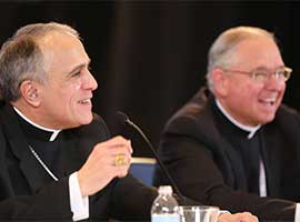 Cardinal Daniel N. DiNardo was elected USCCB president at the bishops' November 2016 General Assembly. Archbishop Jose H. Gomez of Los Angeles, who was elected USCCB vice president. CNS photo/Bob Roller