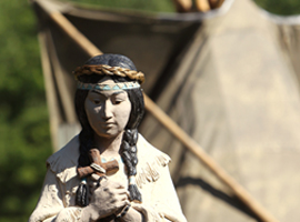 A statue of Blessed Kateri Tekakwitha is seen outside her shrine in Fonday, NY.  CNS Photo/Nancy Phelan Weichec.