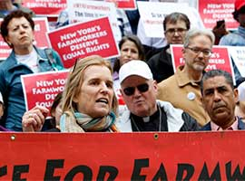 Activists particiapte in a 2016 in New York City March for Farmworker Justice.  (CNS photo/Gregory A. Shemitz)