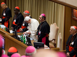 pope-benedict-wuerl-opening-prayer-new-evangelization-synod-cns-paul-haring-montage
