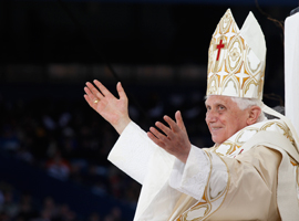Find resources related to Pope Emeritus Benedict XVI.  CNS Photo/Paul Haring.
