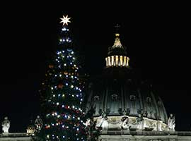 The Christmas tree and Nativity scene decorate St. Peter's Square.  CNS photo/Paul Haring