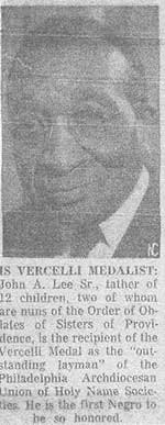 Newspaper clipping about the 1955 Vercelli Award winner, John A. Lee Sr. Story by CNS predecessor.
