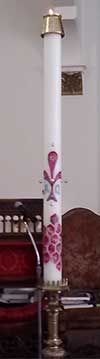 Paschal Candle at St. Teresa of Avila Catholic Church in the Archdiocese of Washington