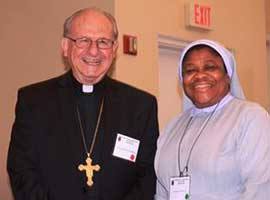 Most Rev. Rutilio del Riego, Chairman, Subcommittee on Pastoral Care of Migrants, Refugees and Travelers (PCMRT) with Sr. Joanna Okereke.