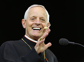 Cardinal Donald W Wuerl smiles while speaking during the Convocation.