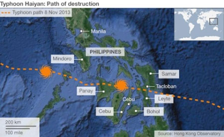 This map shows the destructive path of the November 2013 Typhoon Haiyan (Yolanda) that devastated parts of the Philippines. Map courtesy Hong Kong Observatory.