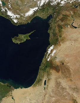 A satellite image of the middle east shows the area that includes Israel and Palesine. U.S. Government image.