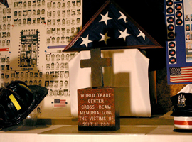 A cross made from a steel beam of the World Trade Center is the centerpiece of a 9/11 memorial at Our Lady of Sorrows Church in Kearney, N.J. CNS photo/Bob Roller.