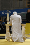 Pope Benedict prays at ground zero in 2008. CNS photo/Nancy Wiechec.