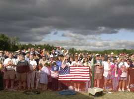 Some 4,000 people gathered on Sept. 11, 2002, to remember the 40 heroes of United Flight 93 who fought hijackers on the plane before it crashed into the field near Shanksville, Pa. CNS photo/Ed Zelachoski, The Catholic Accent.