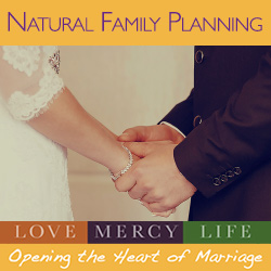 NFP - Natural Family Planning Graphic, All Natural, couple hugging with mountain in the background