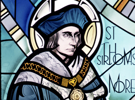 St. Thomas More is depicted in a stained glass window at St. Marys College in Winona Minn. (CNS photo/Crosiers)