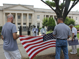 Fortnight 2014 - Flag is displayed during Fortnight 2014 Religious Liberty March to the Charles R. Jonas Federal Courthouse in Charlotte, NC. (Patricia Guilfoyle, Catholic News Herald, Diocese of Charlotte)
